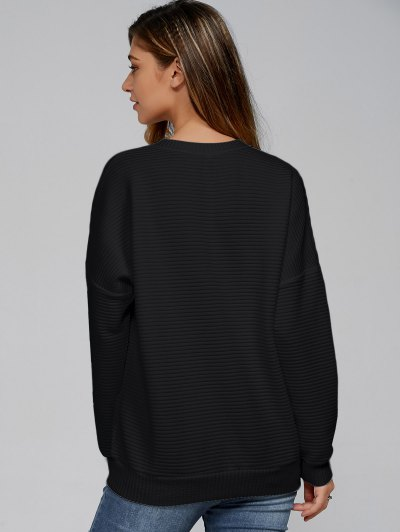 Ribbed Lace Up Sweatshirt - BLACK L Mobile