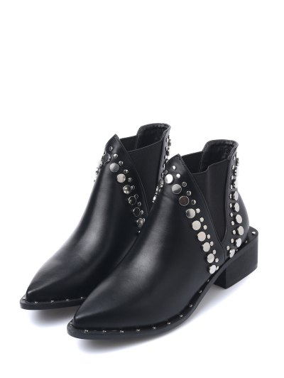 Punk Metal Pointed Toe Ankle Boots - BLACK 38 Mobile