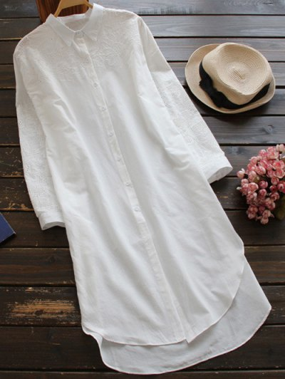 Embroidered High Low Button Up Tunic Shirt Dress - White