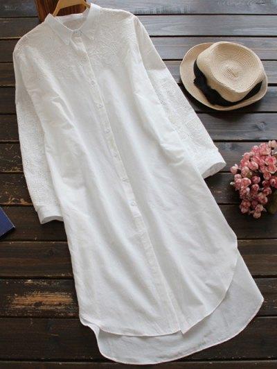 Vestido De Cambio Camisa Bordada Bajo Alto - Blanco