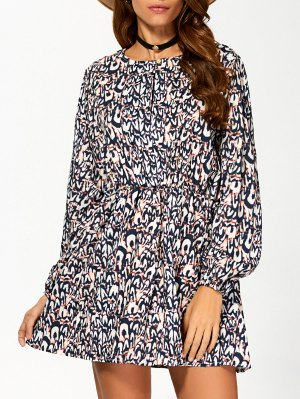 Round Neck 3/4 Sleeveless Printed Dress