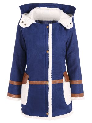 Faux Suede Hooded Coat - Blue