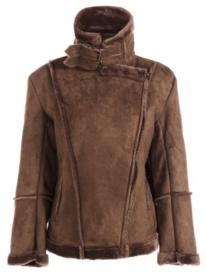 Faux Shearling Jacket - Coffee