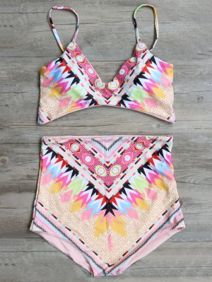 High Waisted Geometric Pattern Bikini