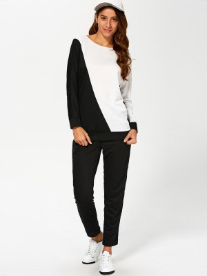 Color Block Sweatshirt With Pants Gym Outfit - White And Black