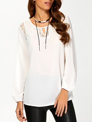 Lace Soliced Fitting T-Shirt - White