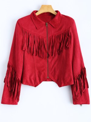 Tasselled Cropped Faux Suede Jacket - Red