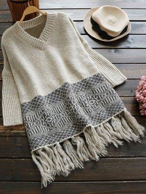 V Neck Tassels Jacquard Sweater - Light Grey