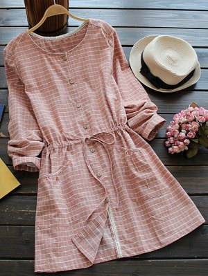 Drawstring Round Neck Checked Button Up Dress - Spice