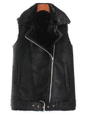 Zip-Up Fuax Suede Waistcoat - Black