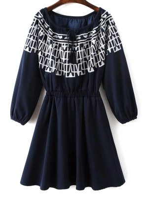 Contrasting Embroidery Long Sleeve Dress - Midnight