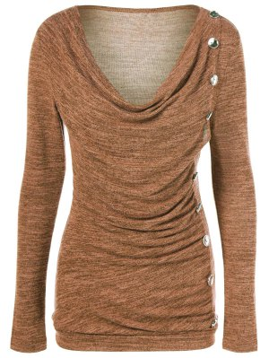 Plus Size Ruched Button Embellished Pullover Top - Ochre Yellow