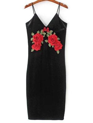 Embroidered Velvet Cami Vintage Dresses - Black