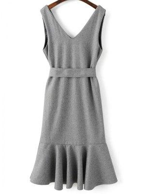 Sleeveless Peplum Hem Wool Blend Dress - Gray