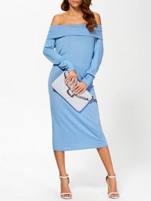 Foldover Off The Shoulder Midi Dress