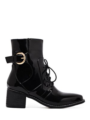 Buckle Patent Leather Combat Boots - Black