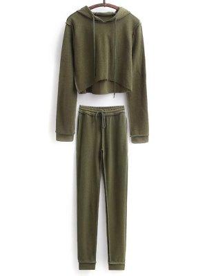Recortada Con Capucha Y Cordón Pantalones Deportivos - Verde Del Ejército