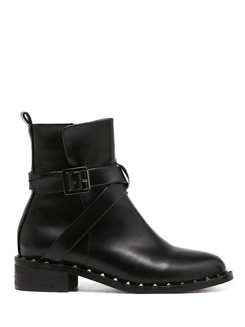PU Leather Rivet Boots
