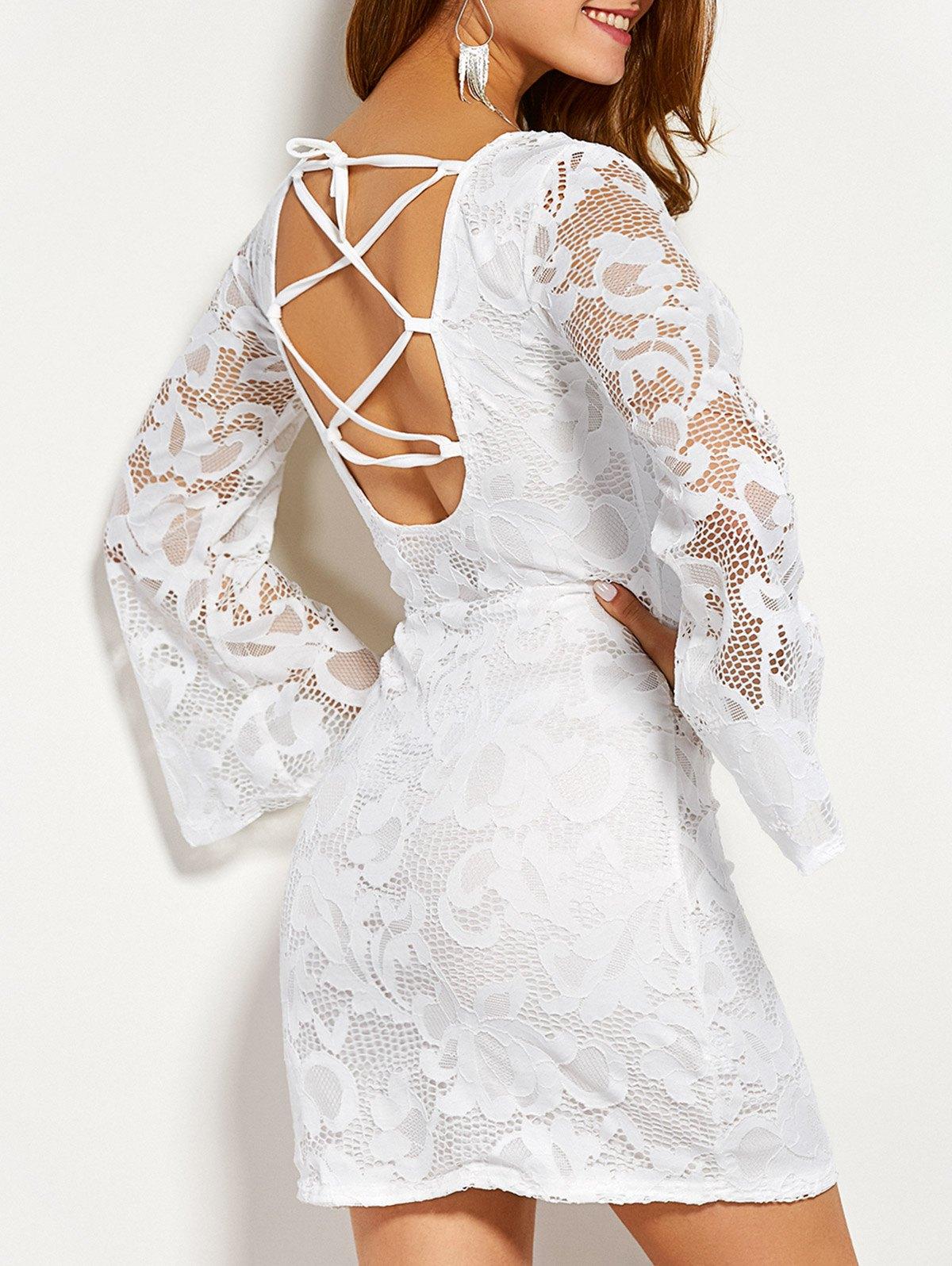 Long Sleeve Back Lace Up Dress