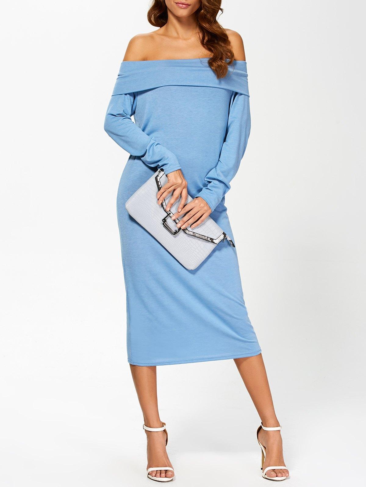 Off-The-Shoulder Long Sleeve Midi Dress