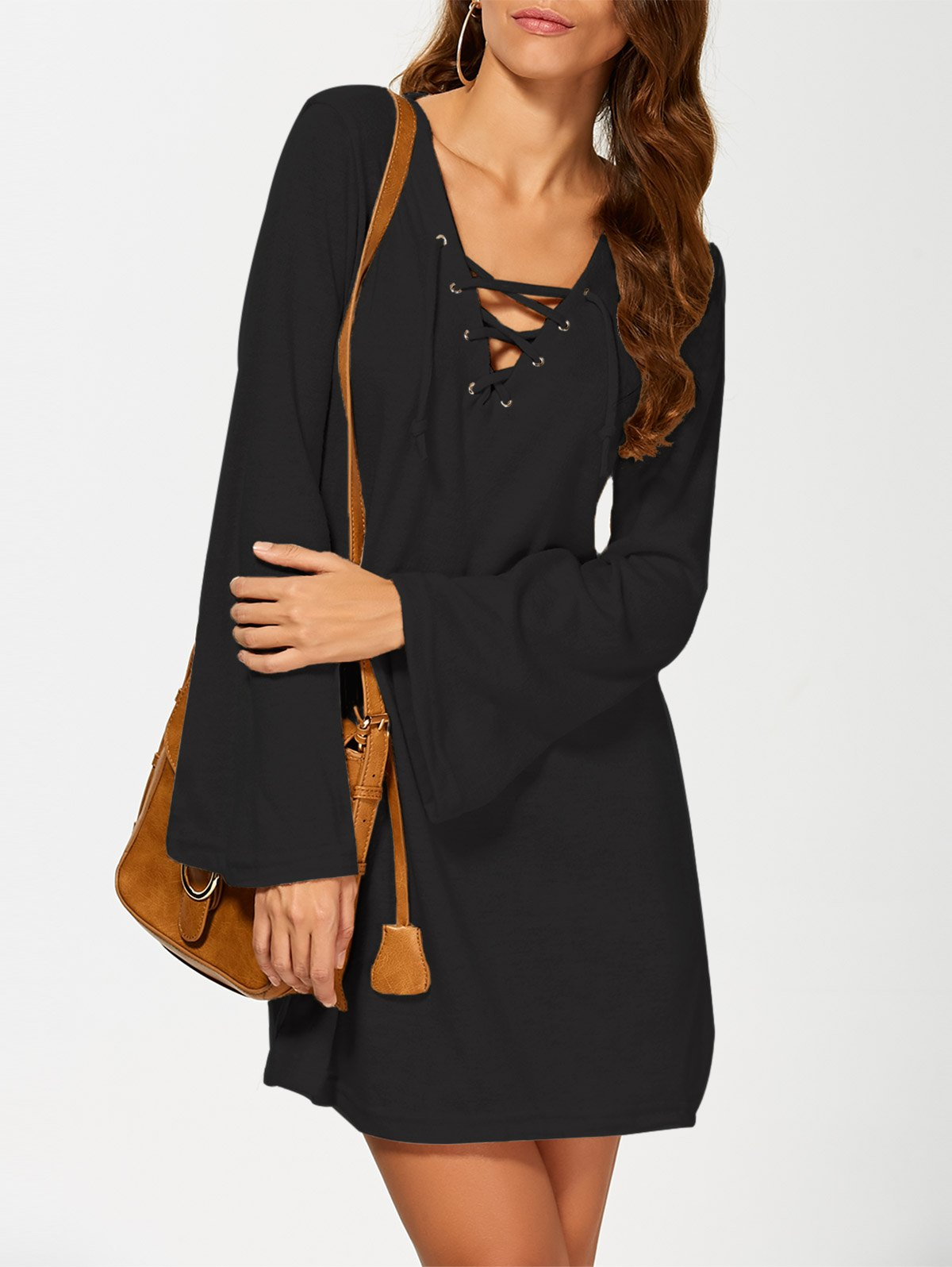 Flared Sleeve Lace Up Knit Dress - BLACK M
