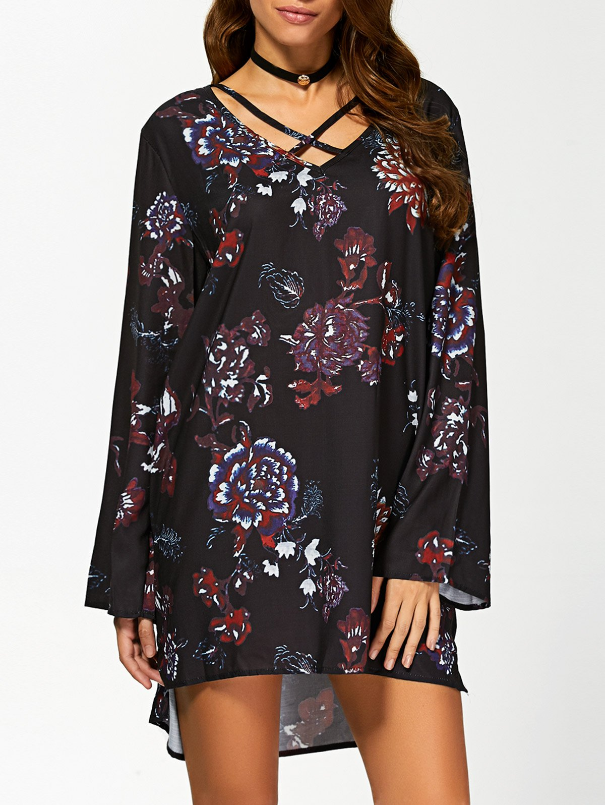 V Neck Long Sleeve Floral Print Tunic Dress