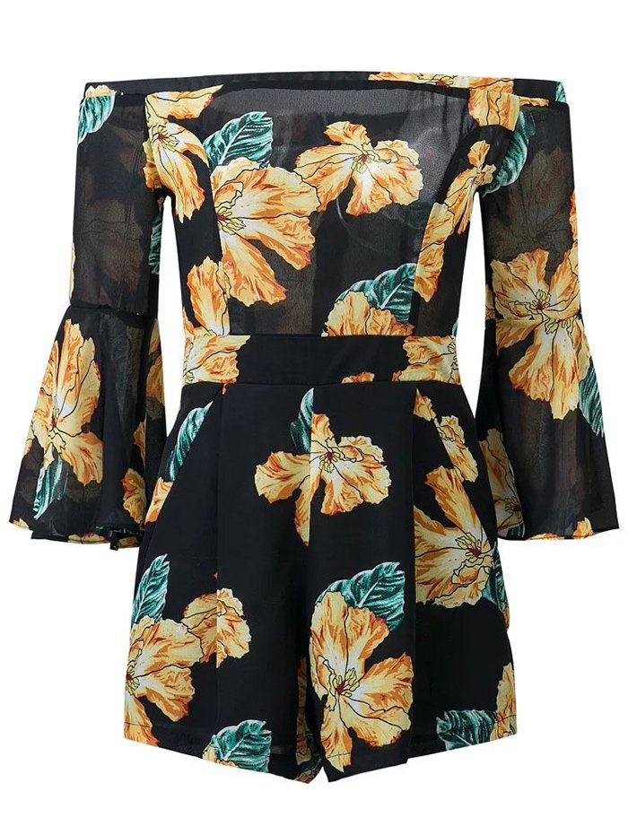 Floral Print Off Shoulder Bell Sleeve Romper