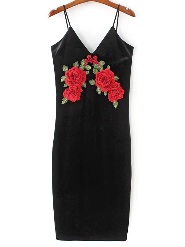 Floral Embroidered Velvet Slip Dress