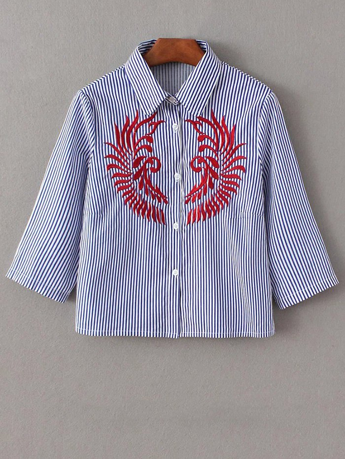 Embroidered Striped Cropped Shirt