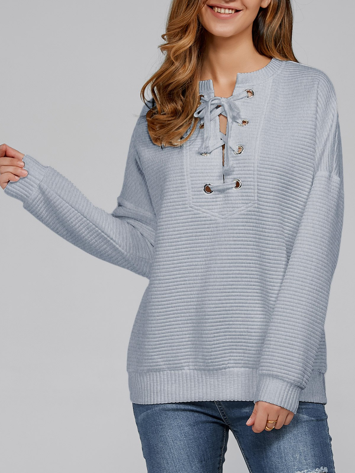 Lace-Up Ribbed Sweatshirt