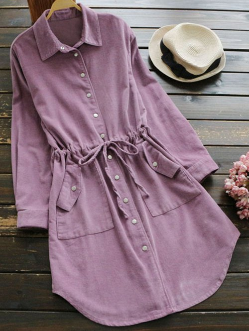 Long Sleeve Drawstring Corduroy Shirt Dress