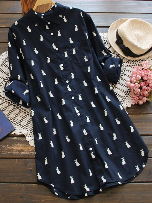 Long Sleeve Rabbit Print Shift Shirt Dress