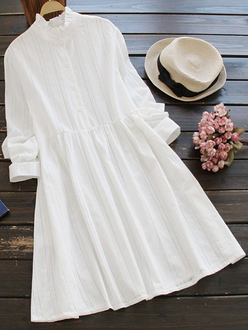 Ruff Collar Long Sleeve Smock Dress