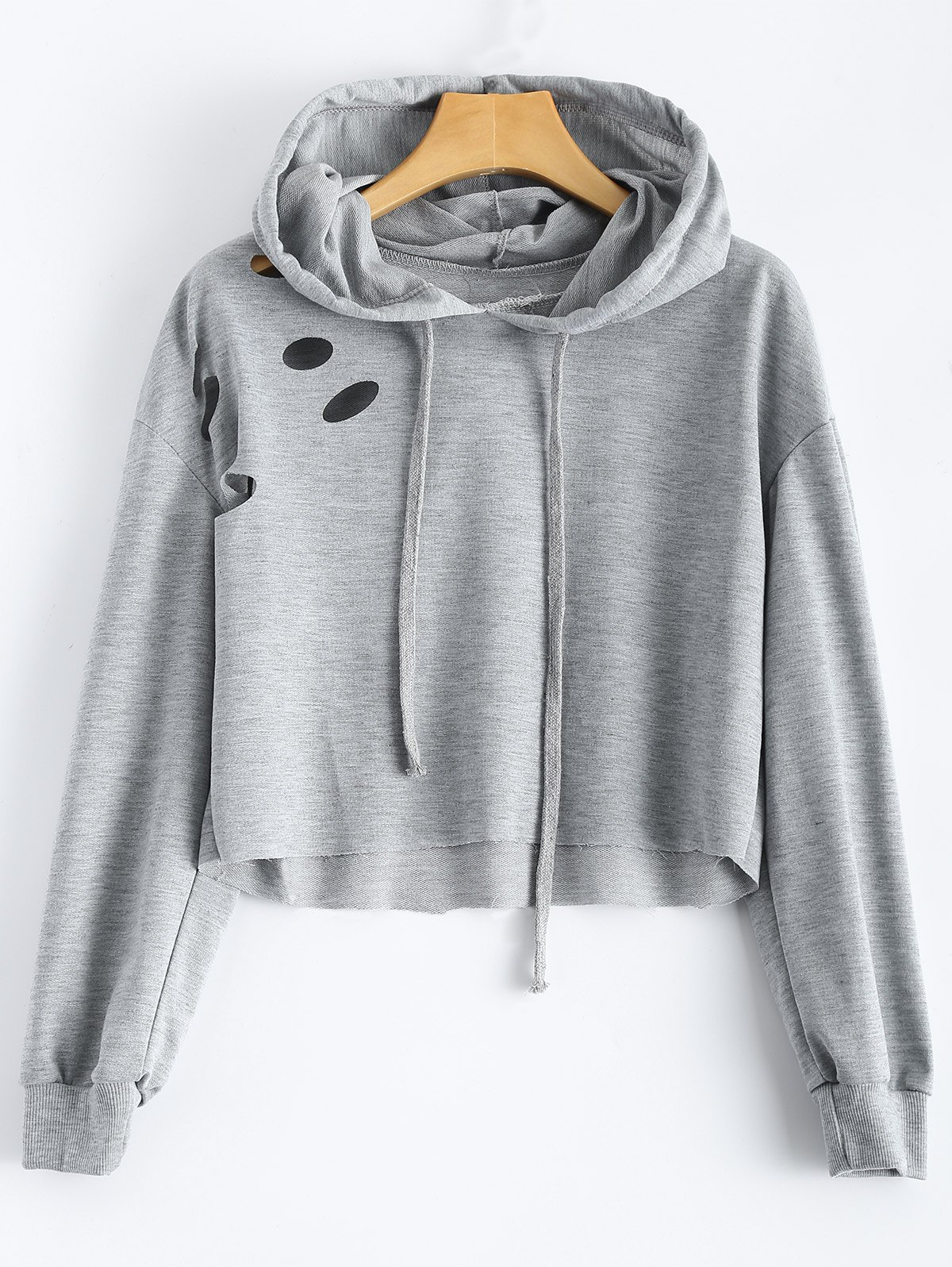 Polka Dot Cut Out Cropped Hoodie