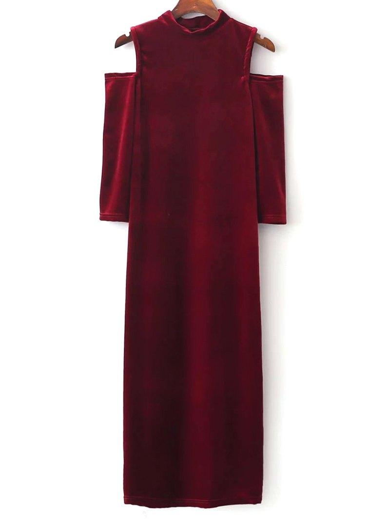 Stand Neck Cold Shoulder Velvet Bodycon Dress