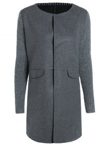 Knitted Sleeve Spliced Round Neck Coat