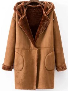 Hooded Faux Shearling Coat - Camel L