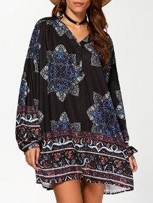 Floral Print V Neck Loose-Fitting Dress - Cadetblue S