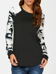 Raglan Sleeve Camouflage T-Shirt