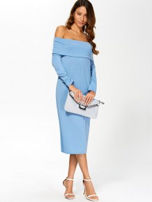 Off-The-Shoulder Packet Buttocks Midi Dress - BLUE S