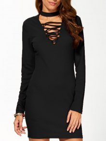 Long Sleeve Lace Up Choker Bodycon Dress - Black M