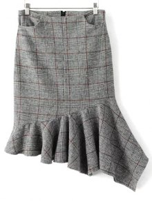 Plaid Tweed Mermaid Skirt - Gray S