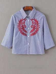 Striped Embroidered Cropped Shirt