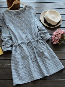 Drawstring Round Neck Checked Button Up Dress - Blue Gray