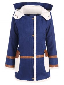 Faux Suede Hooded Coat - Blue Xl