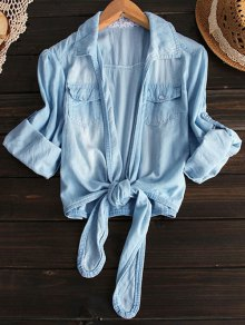 Tied Shirt Neck Denim Shirt - Light Blue