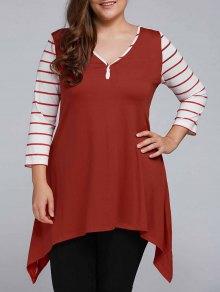 Striped Sleeve Asymmetrical Plus Size Tee - Claret 4xl