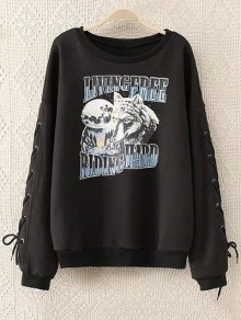Fleeced Lace Up Sleeve Graphic Sweatshirt - Black 3xl