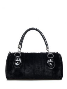 Faux Fur Metal Splicing Tote Bag - Black