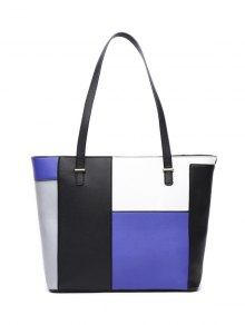 Faux Leather Color Block Shoulder Bag - Blue